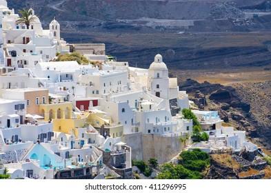 Cityscape of Thira in Santorini island - Greece
