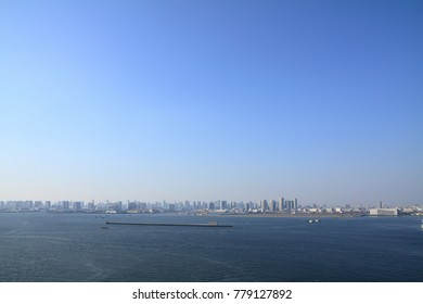cityscape of Tokyo and Tokyo bay from Tokyo gate bridge in Japan