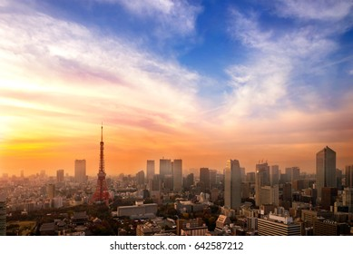 Cityscape of Tokyo, city aerial skyscraper view of office building and downtown of tokyo with sunset / sun rise background. Japan, Asia