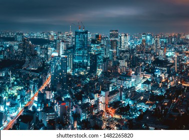 Cityscape of Tokyo city skyline at night in Japan, Cyberpunk color style