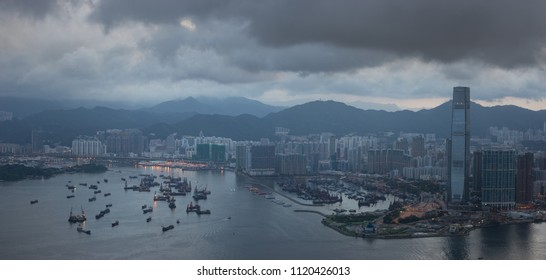 Cityscape from top of mountain in Hong-Kong