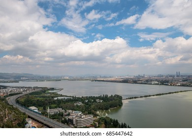 Cityscape top view of Kunming, Kunming is capital of Yunnan province most famous city in CHINA