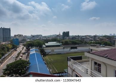 Cityscape top view on buildings in Yangon,Yangon, Myanmar (Burma). 17 Apr. 2018.