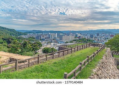 Cityscape of the Tottori city from the Tottori castle in Japan