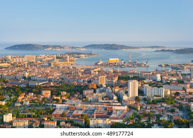 Cityscape of Toulon at sunset time