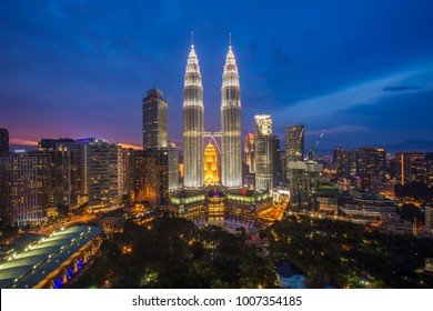 Cityscape of tower and building in Kuala lumpur city with garden on night time, Kuala lumpur, malaysia
