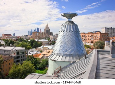 Cityscape and towers of Moscow from rooftop