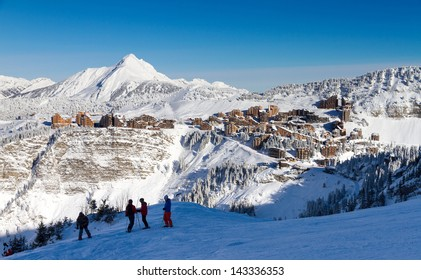 Cityscape of the town of Avoriaz in the Portes du Soleil in France on a sunny day