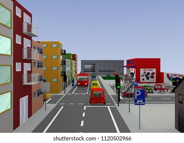 Cityscape with traffic light intersection and street signs: 3d rendering