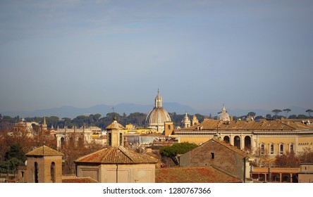 Cityscape of Trastevere,Rome, Italy, a view from the Gianicolo (Janiculum) hill .
