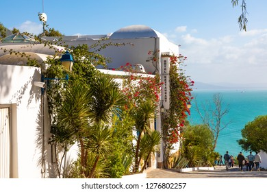 Cityscape with typical white blue colored houses in resort town Sidi Bou Said. Tunisia, North Africa.