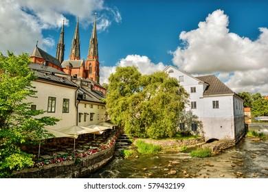 Cityscape of Uppsala (Sweden), Fyris river, HDR-technique