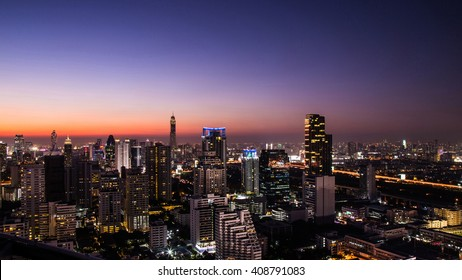 Cityscape, urban and street in the night or twilight.