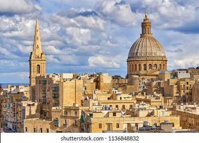 Cityscape of Valetta with the huge dome of Basilica of Our Lady of Mount Carmel