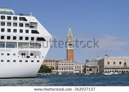 Cityscape of Venice with Doge's Palace, Campanile and cruise ship.