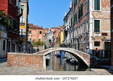 Cityscape of Venice. View to the canal and exterior of houses,