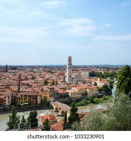 Cityscape of Verona city, Italy. Aerial view of Adige river, Ponte Pietra and  bell tower of Verona Cathedral