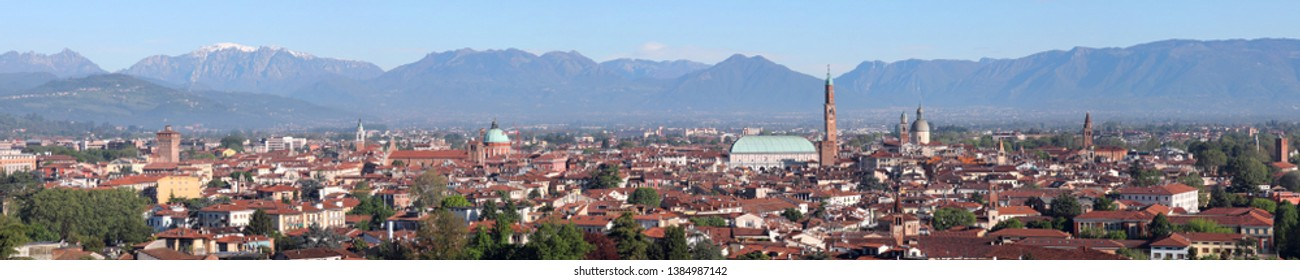 cityscape of Vicenza City in Northern Italy with the famous monument called Basilica Palladiana