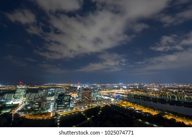cityscape of Vienna city at night, aerial view. Austria