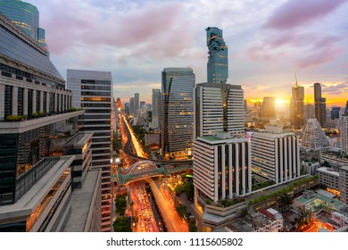 Cityscape view of Bangkok modern office business building in business zone at Bangkok,Thailand. Bangkok is the capital of Thailand and also the most populated city in Thailand.