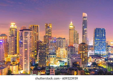 Cityscape view of Bangkok modern office business building in business zone. Bangkok is the capital of Thailand and Bangkok is also the most populated city in Thailand
