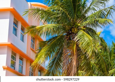 Cityscape view of beautiful Miami Beach with palm trees and art deco architecture.