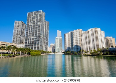 Cityscape view of the Brickell Key area in downtown Miami along Biscayne Bay.