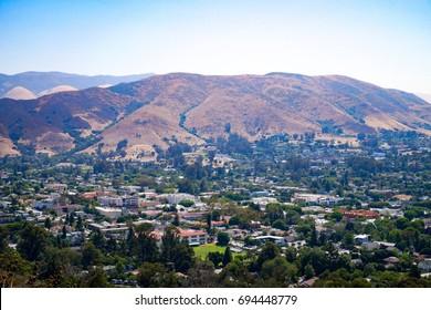Cityscape view from Cerro San Luis Peak in San Luis Obispo County California USA.
