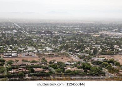 Cityscape view with construction site from Camelback mountain in Scottsdale, Arizona