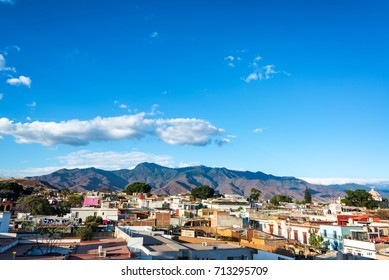Cityscape view with hills in the background of Oaxaca, Mexico