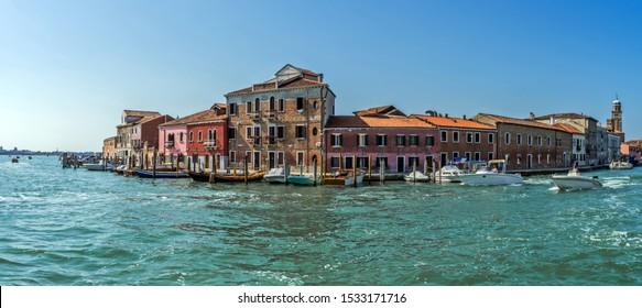 Cityscape view of the island of Murano, near Venice in Italy.