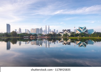 Cityscape view of Kuala Lumpur, Malaysia skyline in morning from Titiwangsa Park.
