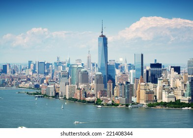 Cityscape view of Lower Manhattan as seen from helicopter, New York City, USA.
