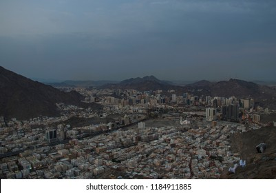 Cityscape view of Mecca town seen from middle part of Jabal Nur. City view from hira cave. Morning time.