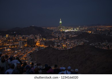 Cityscape view of Mecca town seen from middle part of Jabal Nour. City view from hira cave. Morning time. Mecca - Saudi Arabia: August 2018