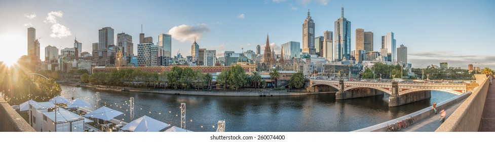 Cityscape view of Melbourne city the most liveable city in the world in Victoria state of Australia. Panorama shot.