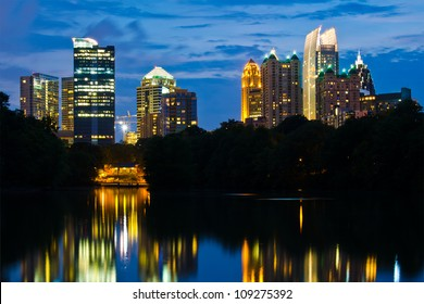 Cityscape view of midtown Atlanta from Piedmont Park