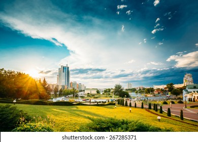 Cityscape View Of Modern Architecture Of Minsk, From District Nemiga, Nyamiha. Belarus. Sunset In Town