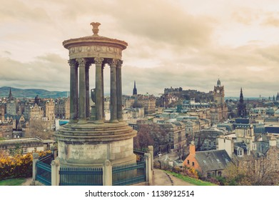 Cityscape view of the old town district of Edinburgh City from the hilltop of Calton Hill in central Edinburgh, Scotland, UK