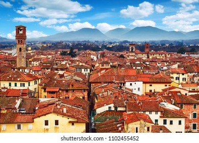 Cityscape view of old town of Lucca, province of Lucca, Italy