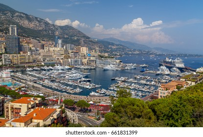 Cityscape view on the bay with luxury yachts, French Riviera, Monte Carlo, Monaco.