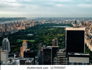 Cityscape view on downtown of Manhattan in New York City at the sunset