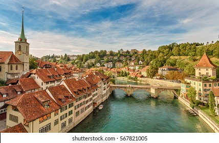 Cityscape view on the old town with river and bridge in Bern. Switzerland.