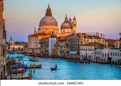 Cityscape view on Santa Maria della Salute basilica in sunset in Venice, Italy
