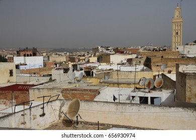A cityscape view over the rooftops of the ancient 11th Century  town of Meknes, Morocco.