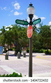 Cityscape view of the the popular Rosemary Square, previously known as Cityplace. Street Index at Rosemary Ave and Evernia St; West Palm Beach.