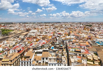 Cityscape view of Seville from the top of the Giralda. Andalusia, Spain