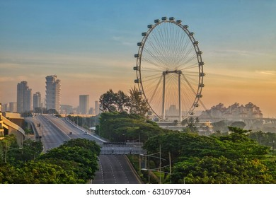 Cityscape with view of Singapore Flyer
