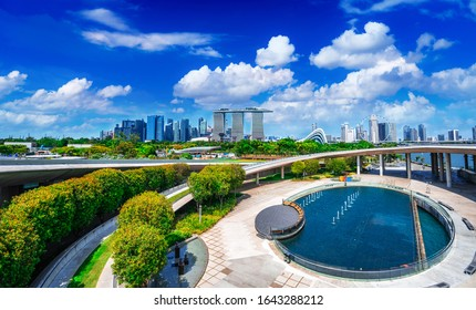 Cityscape view of Singapore from Marina barrage park Singapore
