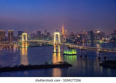 Cityscape View of Tokyo Bay, Rainbow bridge and Tokyo Tower landmark, Twilight scene, Odaiba, Japan